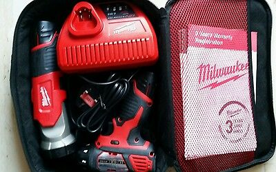 Milwaukee M12 bsd with charger, 2× battery and a torch