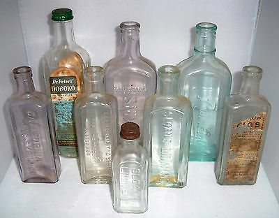 Lot of 8 Antique Embossed Medicine Pharmacy Syrup Bottles Nice Variety
