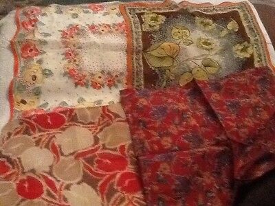 4 Vintage square Cotton And Silk  Hankerchief Including Liberty