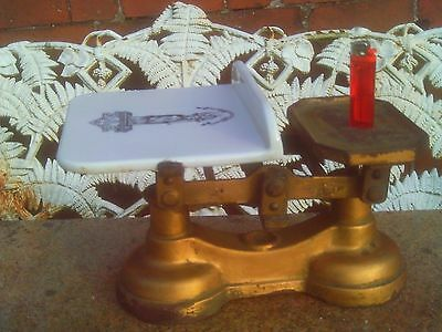 Antique Kitchen Scales with Ceramic Tray & Picture of Justice. Good Old Vintage.