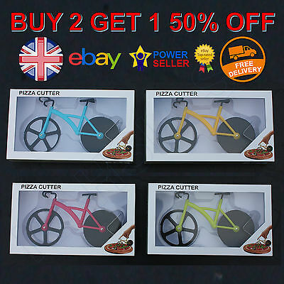 Bike Pizza Cutter Road Bicycle Chopper Slicer Kitchen Tool Stainless Steel Boxed