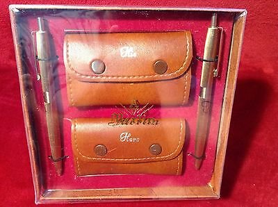 Vintage Retro Merlin His And Hers Pens & Key Holder Wallets Boxed Gift Set
