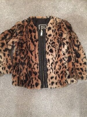 Girls River Island Faux Fur Leopard/animal Jacket Age 6