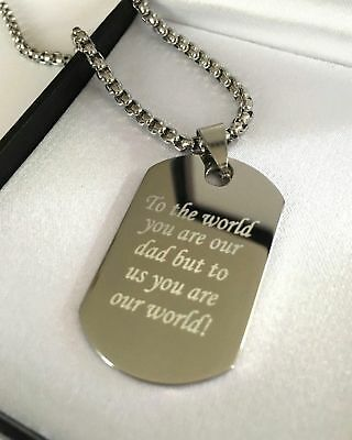 Mens Personalised Chunky Silver Steel T Bar Necklace Engraved Dog Tag, Mens Gift