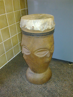 Wood Carved African Face Drum (3 Faces)