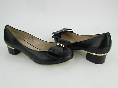 Pre-Owned Women's Abound Black Leather Slip On Heel Casual Bow Size 5.5 M