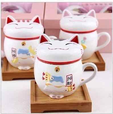 Ceramic Fortune Cat Lucky Mug Cute Gift Decoration Asian Japanese Style Cup Drin
