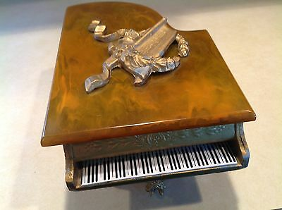 ANTIQUE VICTORIAN CAST IRON BABY GRAND PIANO MUSIC BOX w/ BAKELITE TOP