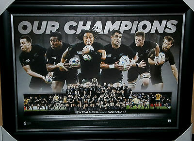 2015 All Blacks Rugby Union World Cup Winners Kiwi Framed Limited Edition Print