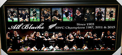 New Zealand All Blacks Rugby World Cup Wins 1987, 2011/15 Framed Panograph Print