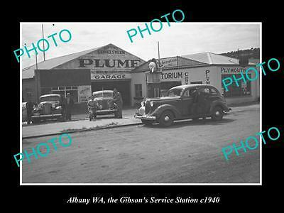 OLD LARGE HISTORIC PHOTO OF ALBANY WA, GIBSONS PLUME OIL Co SERVICE STATION 1940