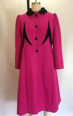 Vintage Princess Women's Rothschild Magenta Wool Coat 12 Small USA Union