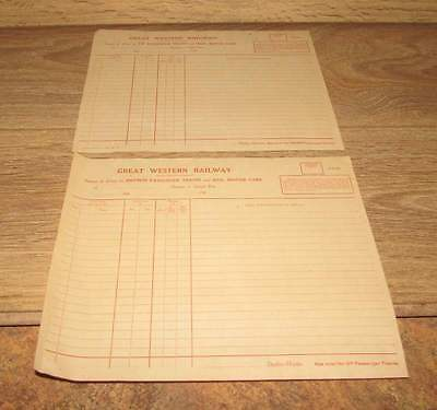 Lot of 2 Great Western Return of delays  papers