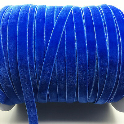 "New 5 yards 3/8 ""10mm Blue Velvet Ribbon Headband Clips Bow Decoration"