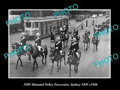 OLD LARGE HISTORIC PHOTO OF NEW SOUTH WALES MOUNTED POLICE PROCESSION c1940