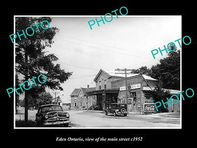 OLD LARGE HISTORIC PHOTO OF EDEN ONTARIO, VIEW OF THE MAIN STREET & STORE c1952