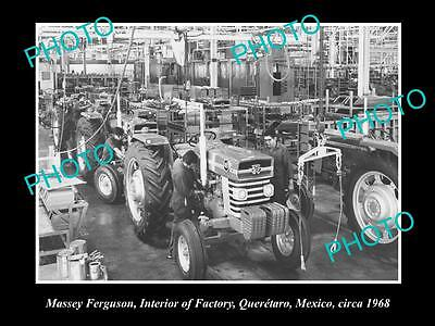 Old Large Historic Photo Of Massey Ferguson Tractor Production Line, Mexico 1968