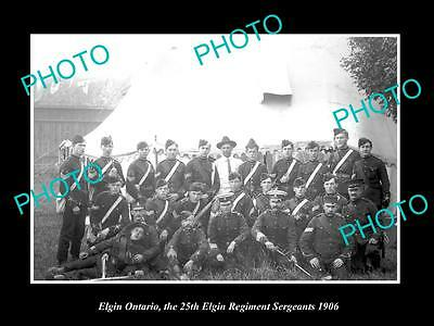 OLD LARGE HISTORIC PHOTO OF CANADIAN MILITARY, THE ELGIN 25th ARMY REGIMENT 1906