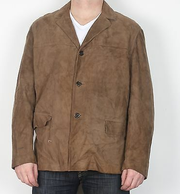 """Suede Jacket Coat Large XL 44"""" Approx Brown (K5E) 70's"""