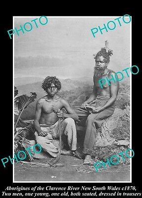 OLD HISTORICAL ABORIGINAL PHOTO OF MEN WITH BOOMERANGS, CLARENCE RIVER NSW c1870