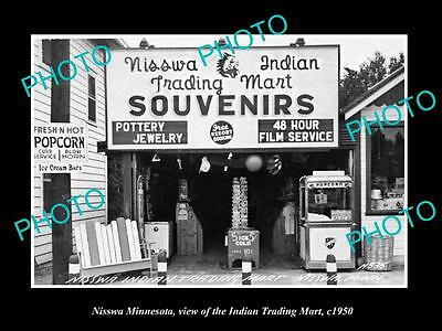 OLD LARGE HISTORIC PHOTO OF NISSWA MINNESOTA, THE INDIAN TRADING POST c1950