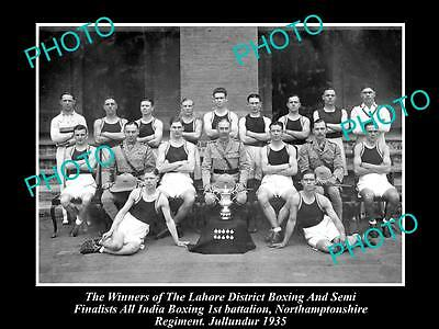 Old Historic Military Photo Of Northamptonshire Regiment, Boxing Champs 1935
