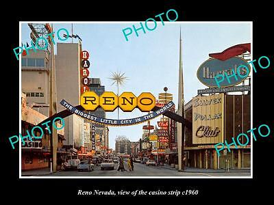 OLD LARGE HISTORIC PHOTO OF RENO NEVADA, VIEW OF THE CASINO STRIP c1960 2