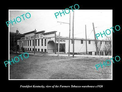 OLD LARGE HISTORIC PHOTO OF FRANKFORT KENTUCKY, FARMERS TOBACCO WAREHOUSE c1920