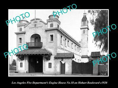 OLD LARGE HISTORIC PHOTO OF LOS ANGELES FIRE DEPARTMENT, No 18 ENGINE HOUSE 1920