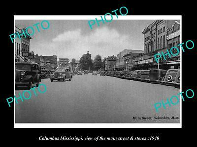 OLD LARGE HISTORIC PHOTO OF COLUMBUS MISSISSIPPI, THE MAIN St & STORES c1940