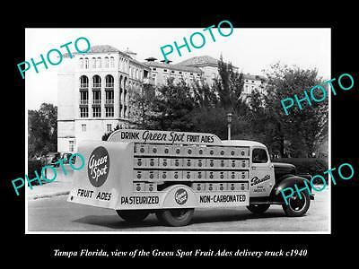 OLD LARGE HISTORIC PHOTO OF TAMPA FLORIDA, THE GREEN SPOT DRINKS TRUCK c1940