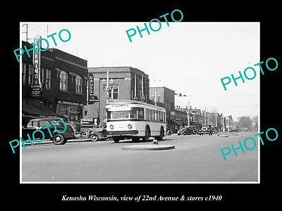 OLD LARGE HISTORIC PHOTO OF KENOSHA WISCONSIN, VIEW OF 22nd AVE & STORES c1940