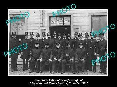 OLD LARGE HISTORIC PHOTO OF VANCOUVER CANADA, CITY HALL & POLICE STATION c1903