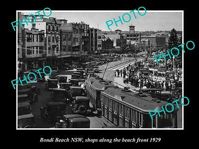 Old Large Historical Photo Of Bondi Beach Nsw, View Of Shops Along Beach 1929