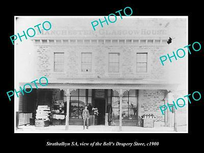 OLD LARGE HISTORIC PHOTO OF STRATHALBYN SA, VIEW OF BELLS DRAPERY STORE c1900