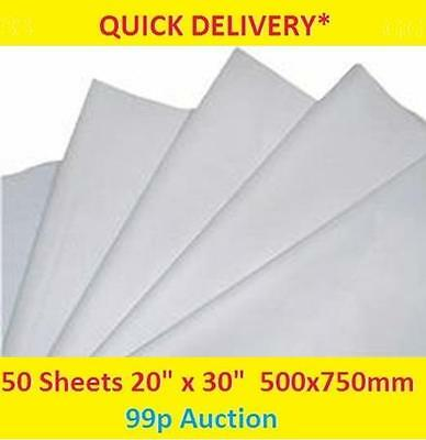 """50 Sheets of WHITE Tissue Paper - Packing, Wrapping, Craft,  20x30""""           62"""
