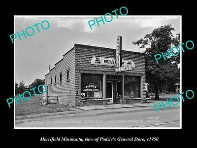 Old Large Historic Photo Of Merryfield Minnesota, The Podzies General Store 1950