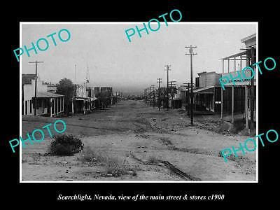 OLD LARGE HISTORIC PHOTO OF SEARCHLIGHT NEVADA, THE MAIN STREET & STORES c1900