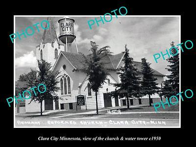 OLD LARGE HISTORIC PHOTO OF CLARA CITY MINNESOTA, THE CHURCH & WATER TOWER c1950
