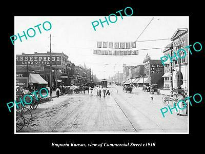 OLD LARGE HISTORIC PHOTO OF EMPORIA KANSAS, VIEW OF COMMERCIAL STREET c1910