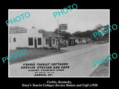 OLD LARGE HISTORIC PHOTO OF CORBIN KENTUCKY, THE YEARYS SERVICE STATION c1950