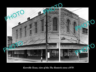 OLD LARGE HISTORIC PHOTO OF KERRVILLE TEXAS, VIEW OF THE BOOTERIE STORE c1970