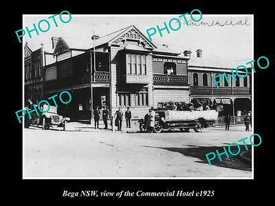 OLD LARGE HISTORICAL PHOTO OF BEGA NSW, VIEW OF THE COMMERCIAL HOTEL c1925