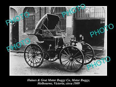 OLD LARGE HISTORIC PHOTO OF HAINES & GRUT MOTOR Co BUGGY, MELBOURNE, VIC 1909