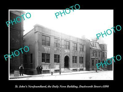 OLD LARGE HISTORIC PHOTO OF St JOHNS NEWFOUNDLAND, THE DAILY NEWS BUILDING c1890