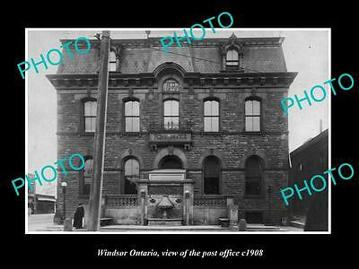 Old Large Historic Photo Of Windsor Ontario Canada, The Post Office 1908