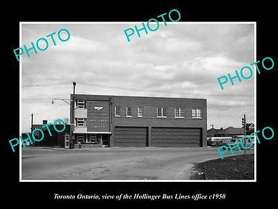 OLD LARGE HISTORIC PHOTO OF TORONTO CANADA, THE HOLLINGER BUS LINES OFFICE c1950