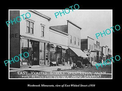 Old Large Historic Photo Of Westbrook Minnesota, East Whited St & Stores 1910