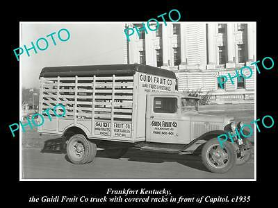 OLD LARGE HISTORIC PHOTO OF FRANKFORT KENTUCKY, THE GUIDI FRUIT Co TRUCK 1935