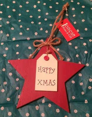 Happy Xmas / Hanging Star / Red / Wooden / Novelty Gift / Christmas Present